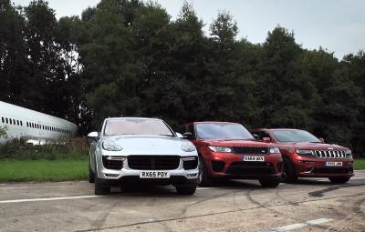 Porsche Cayenne Turbo S vs Range Rover Sport SVR vs Jeep Grand Cherokee SRT