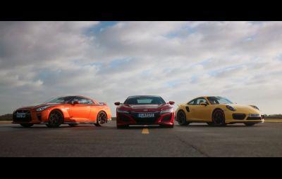 Honda NSX vs. Porsche 911 Turbo vs. Nissan GT-R